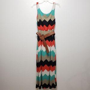 5/$15 J for Justify Chevron Maxi Dress w/ Belt